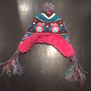 Faux fur & fleece lined warm pompom kids hat .
